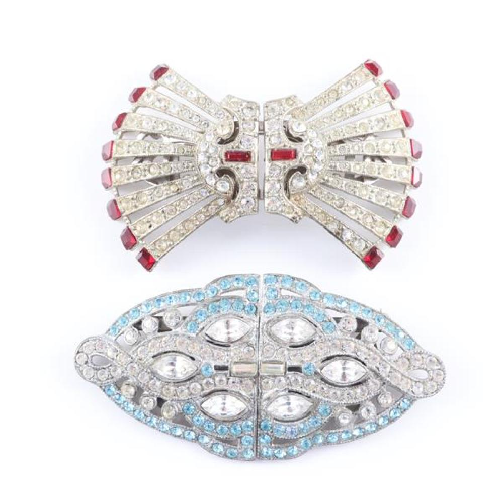 Two early Duette clips; one Coro with pave and red square cut jewels, and one with light blue and clear jewels.
