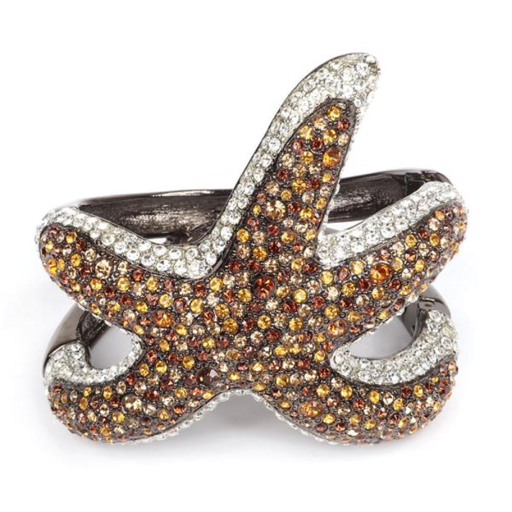 """Kenneth Jay Lane (KJL) designer magnetic clamper cuff bracelet 2 1/4""""inner width, 3""""W"""