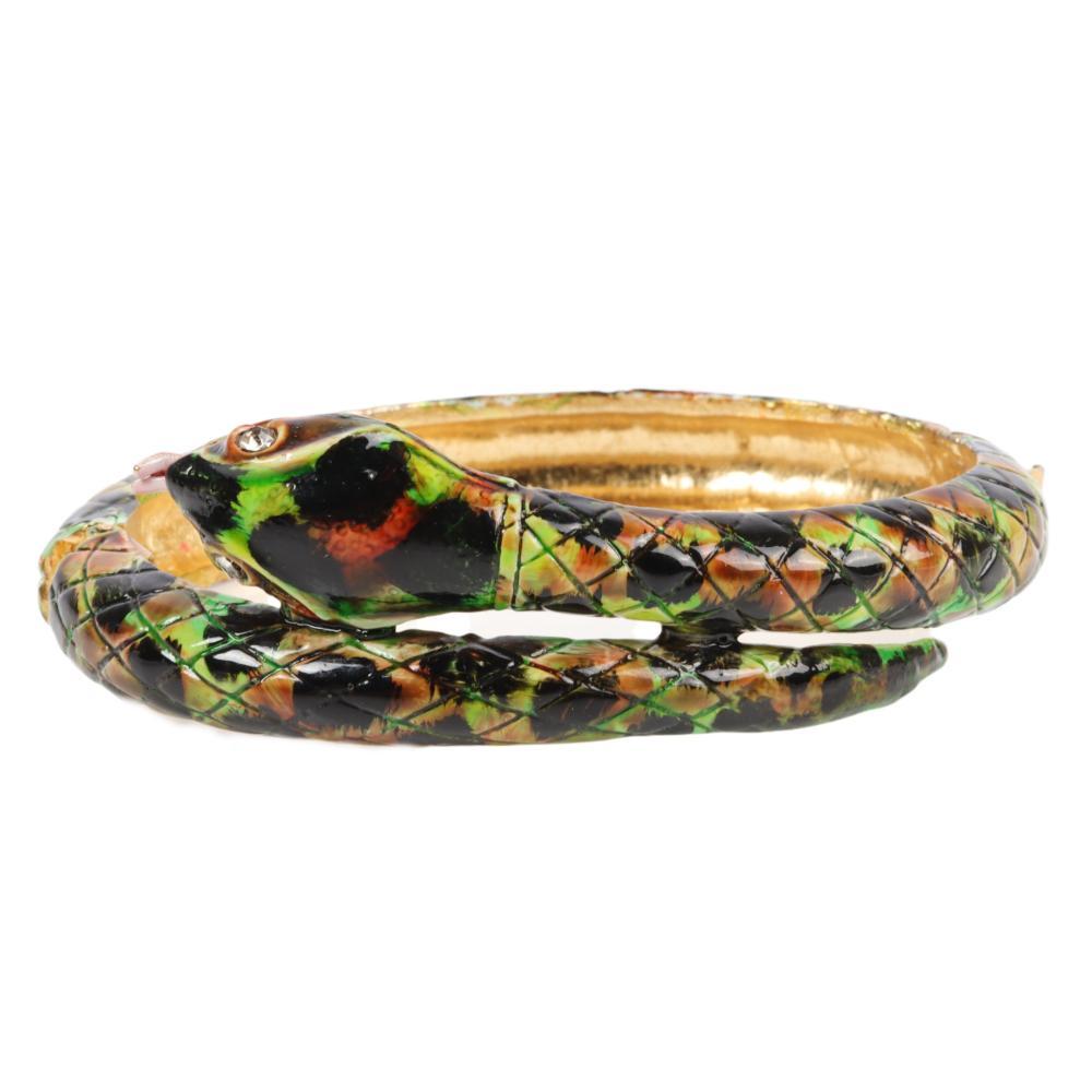 "Original by Robert enameled snake bangle with rhinestone eyes. 1""W x 2 1/4"" Inner Diam."