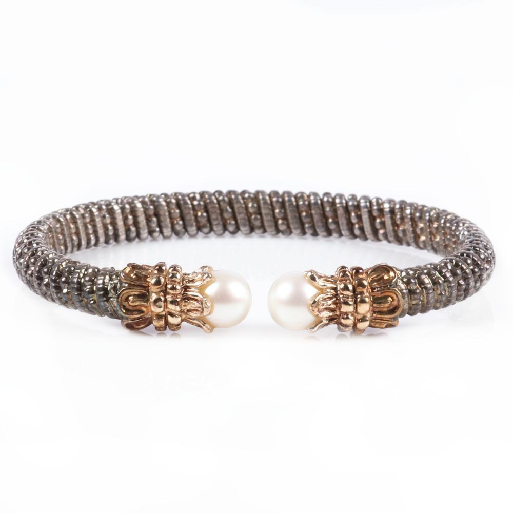 "Alwand Vahan Designer 14K gold, sterling silver, and pearl capped cuff bracelet. 2 1/4"" inner diam, 1/4""W"