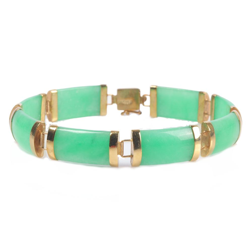"""Chinese green jade and 14K yellow gold panel bracelet. 1/4""""W x 7""""L"""
