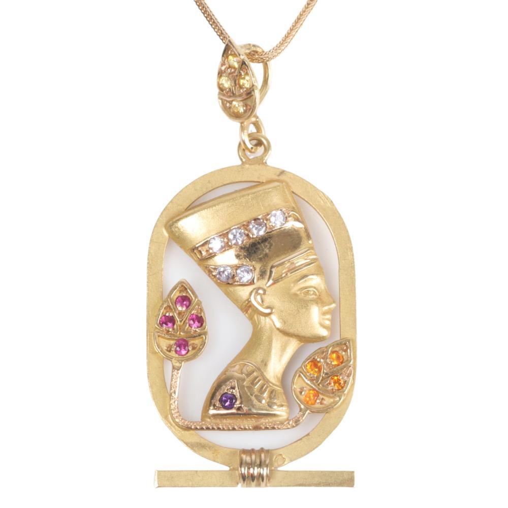 "Egyptian Revival Queen Nefertiti 14K yellow gold, diamond & gemstone pendant necklace. 2""H x 1""W (Pendant) x 18""L (Chain)"