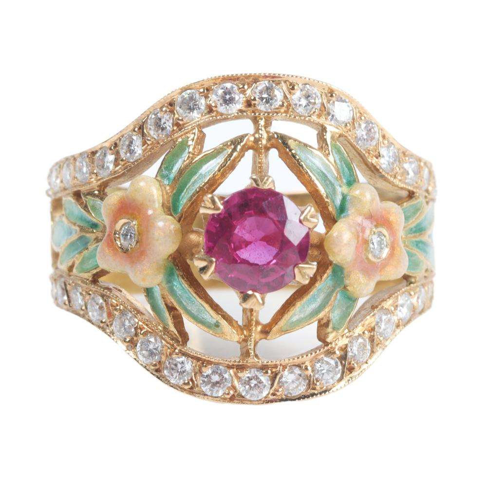 """Masriera My Paradise Pink Passion flower ring, 18K yellow gold diamond plique-à-jour. 5/8""""W 6 3/4 Ring Size"""