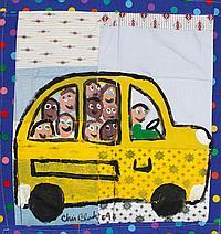 """Chris Clark, Quilt with School Bus, 17 1/2"""" x 16 3/4"""""""