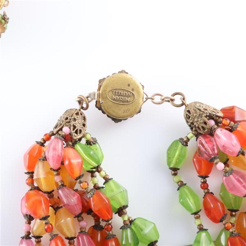 "Miriam Haskell polished colored stone mineral and glass beaded 3pc. floral parure; multi strand necklace, bracelet with floral clasp, and cluster earrings. 16""L (necklace), 7 1/2""L (bracelet)"