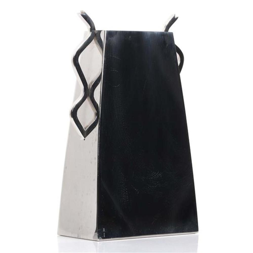 "Brueton LARGE modern new wave stainless steel designer vase. 13 1/2""H x 7 1/2""W."