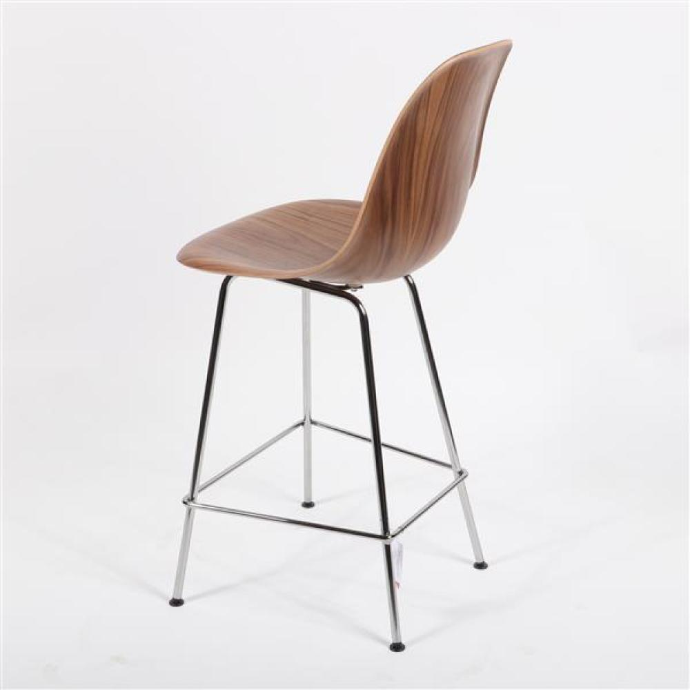 """Herman Miller Eames design molded wood shell chair counter stool, chrome base. 40 1/4""""H x 18 1/2""""W x 18""""D."""