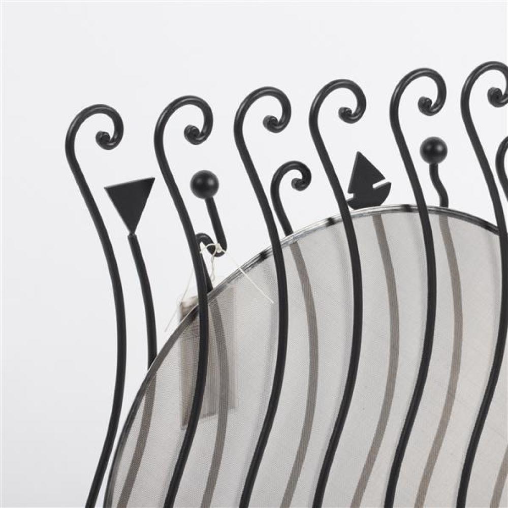 "Zanotta 'Giroglifo' wrought iron fire screen designed by Riccardo Dalisi 1993. Signed original. 28 1/2""H x 30 1/4""W."