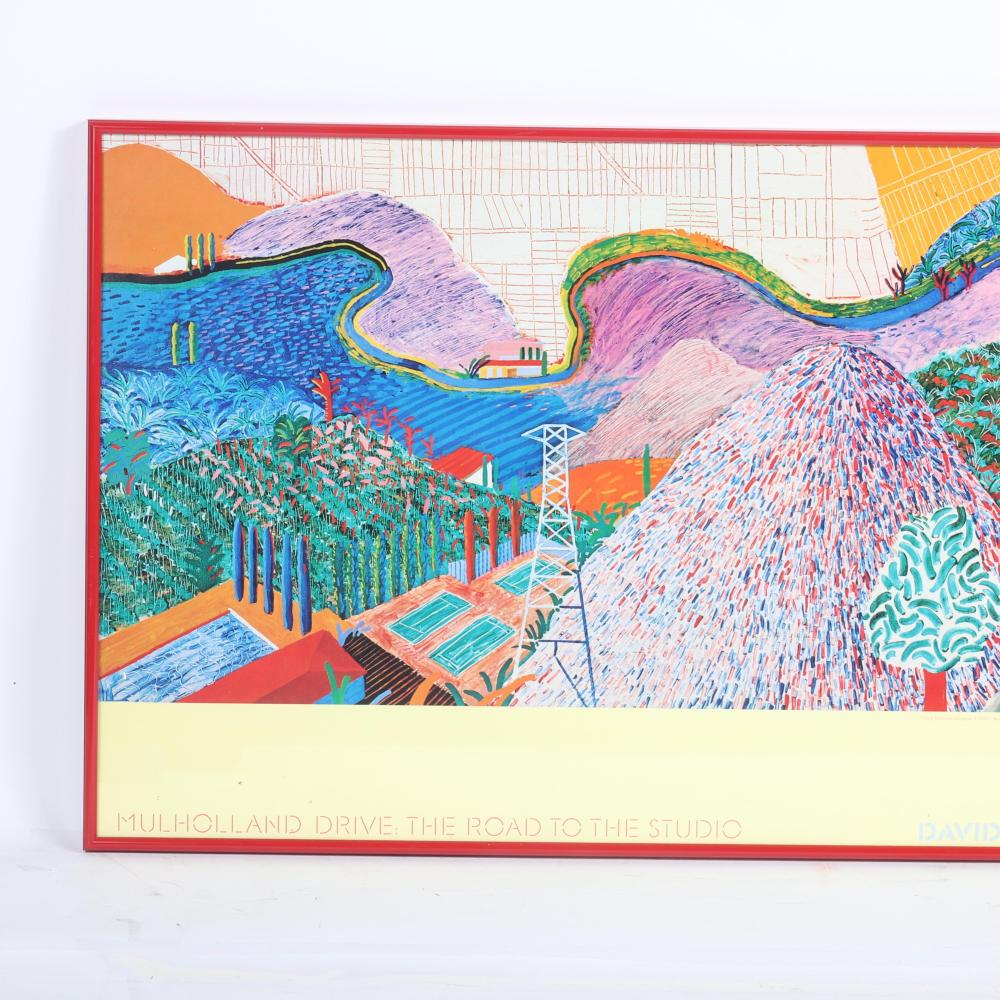 """David Hockney, Poster: Mulholland Drive: The Road to the Studio, Los Angeles County Museum of Art, 17""""H x 38 1/2""""W (frame)."""