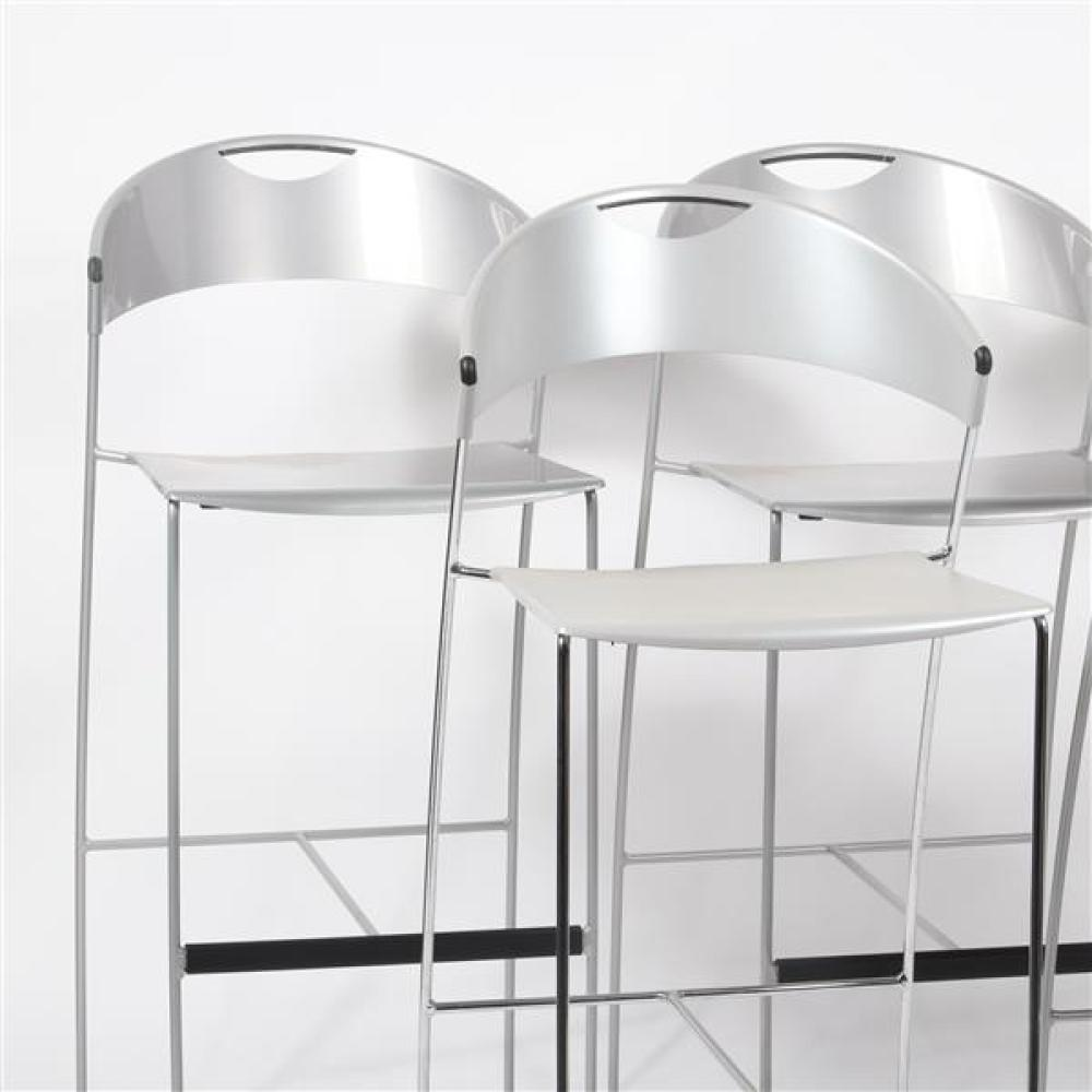 "Five Baleri Italia 'Juliette' stackable bar stools designed by Hannes Wettsein, in silver. 42""H x 17 3/4""W x 17 1/2""D (one)."