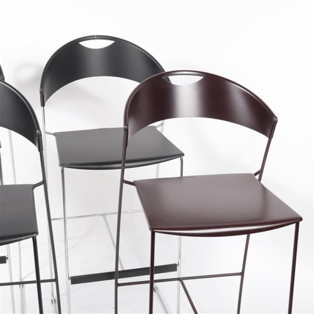 "Four Baleri Italia 'Juliette' stackable bar stools designed by Hannes Wettsein, three black, one brown. 42 1/2""H x 17 3/4""W x 18""D (one)."