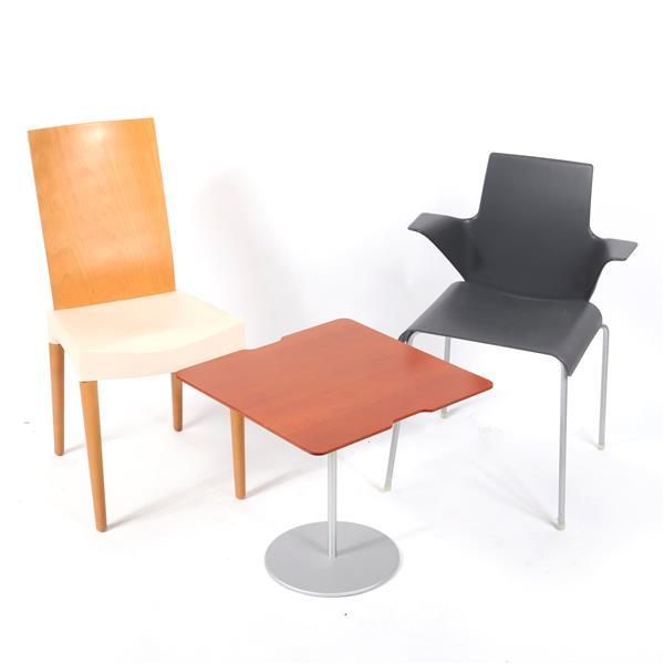 "Modern design 3pc.; Kartell 'Miss Trip' chair by Philippe Starck, B&B Italia 'Tama' chair by Uwe Fischer, and Cassina 'On-Off' side... 34""H x 15 3/4""W (one chair)."
