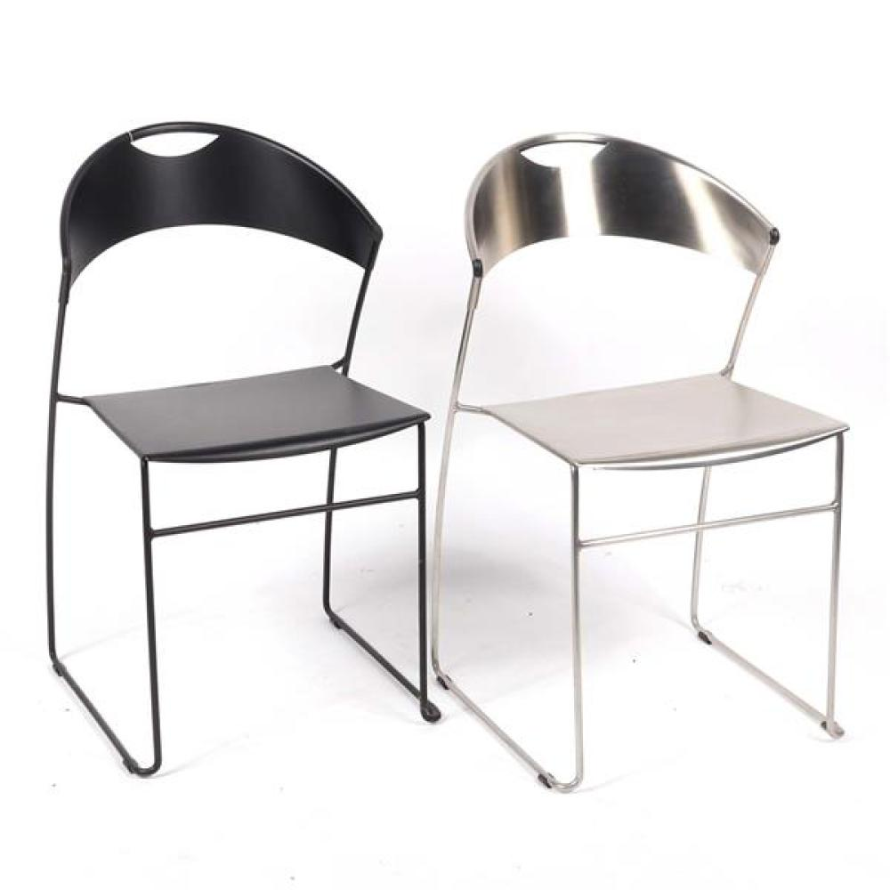 """Two Baleri Italia 'Juliette' stackable chairs designed by Hannes Wettsein, in silver and black. 30""""H x 18""""W x 16 1/2""""D (one)."""