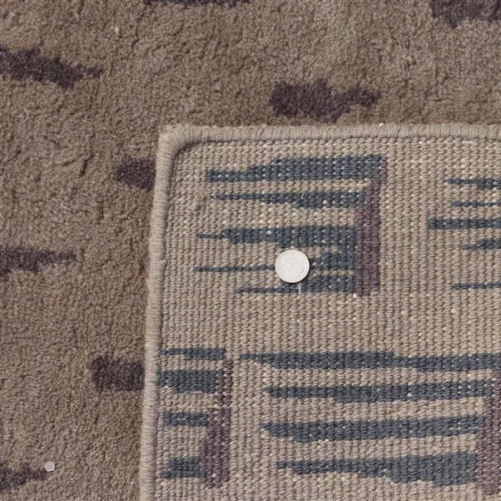 Toulemonde Bouchart vintage 'Tempete' high pile modernist pattern hand tufted organic wool area rug. 6' x 9'.