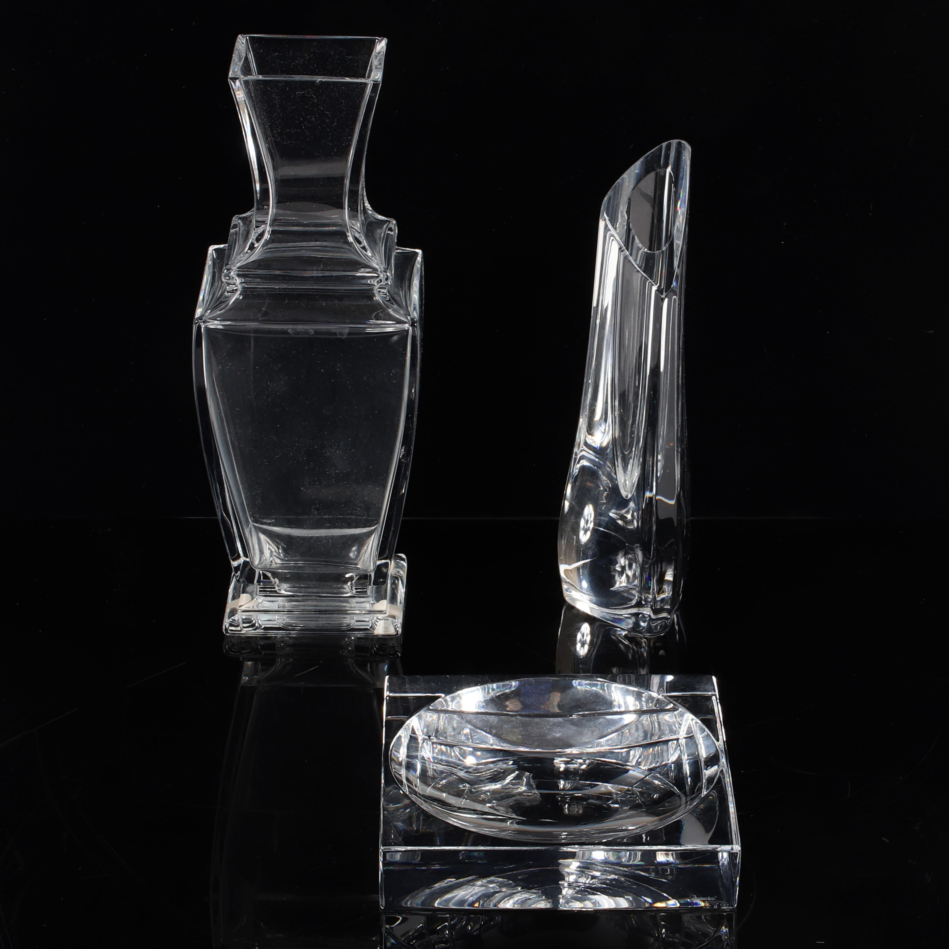 """Baccarat French crystal group of three decorative items; two vases and a square tray with concave circle. 10 1/2""""H (tallest)."""