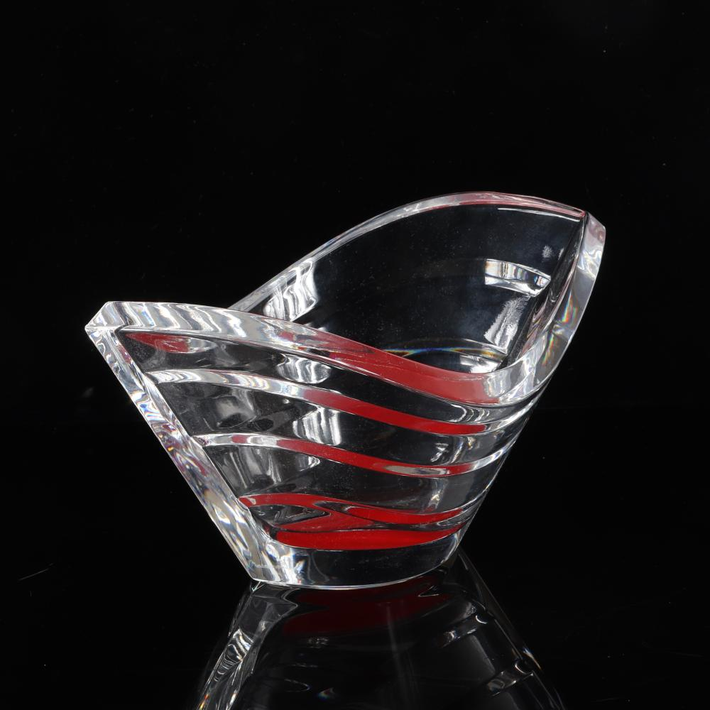 """Two Baccarat French crystal 'Wave' vessels; tall vase and bowl with refractive orange enamel under base. 8 1/2""""H x """"7 1/2W (larger)."""