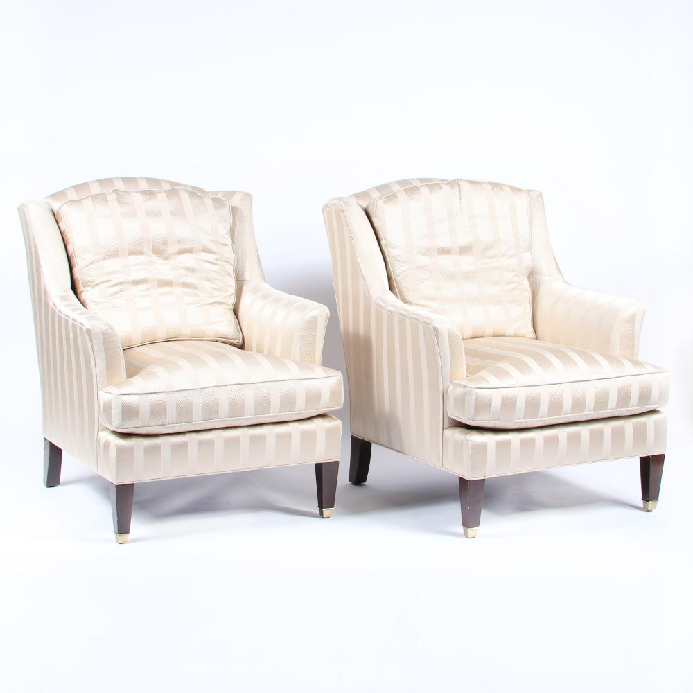 """PAIR Baker Dapha Juliette upholstered variation classic wing chairs 39 1/2""""H x 30 3/4""""W x 32"""" (each)."""