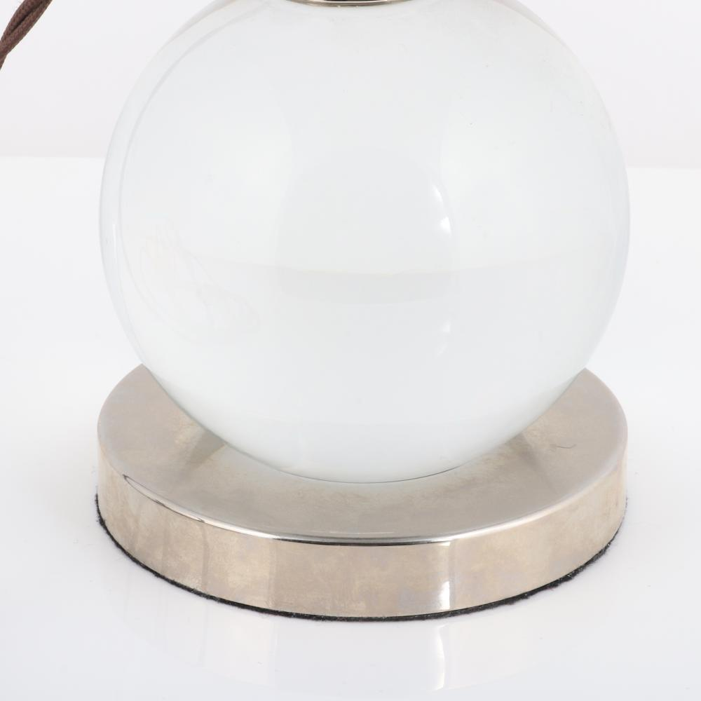 """French Art Deco style Baccarat 'Boule' crystal ball lamp After a 1930s model by Jacques Adnet. 8 1/4""""H x 4 3/4""""Diam."""