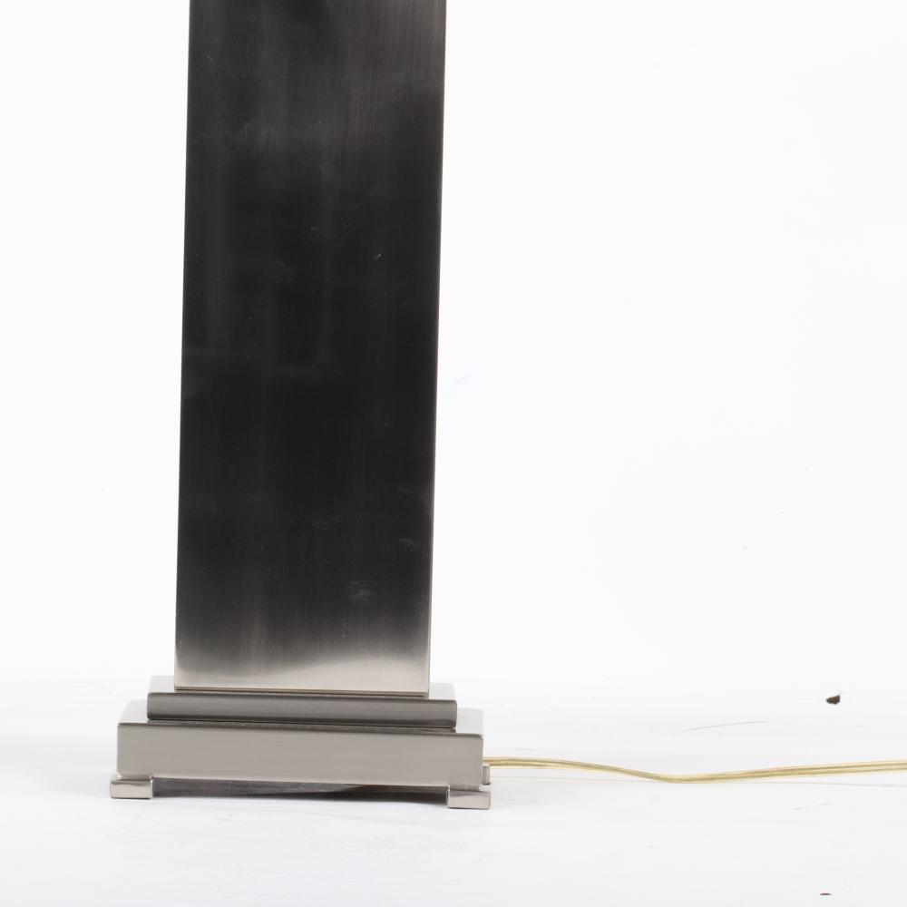 """Uttermost Lighting modern designer stainless steel table lamp with brushed nickel finish. 30""""H (including finial)."""