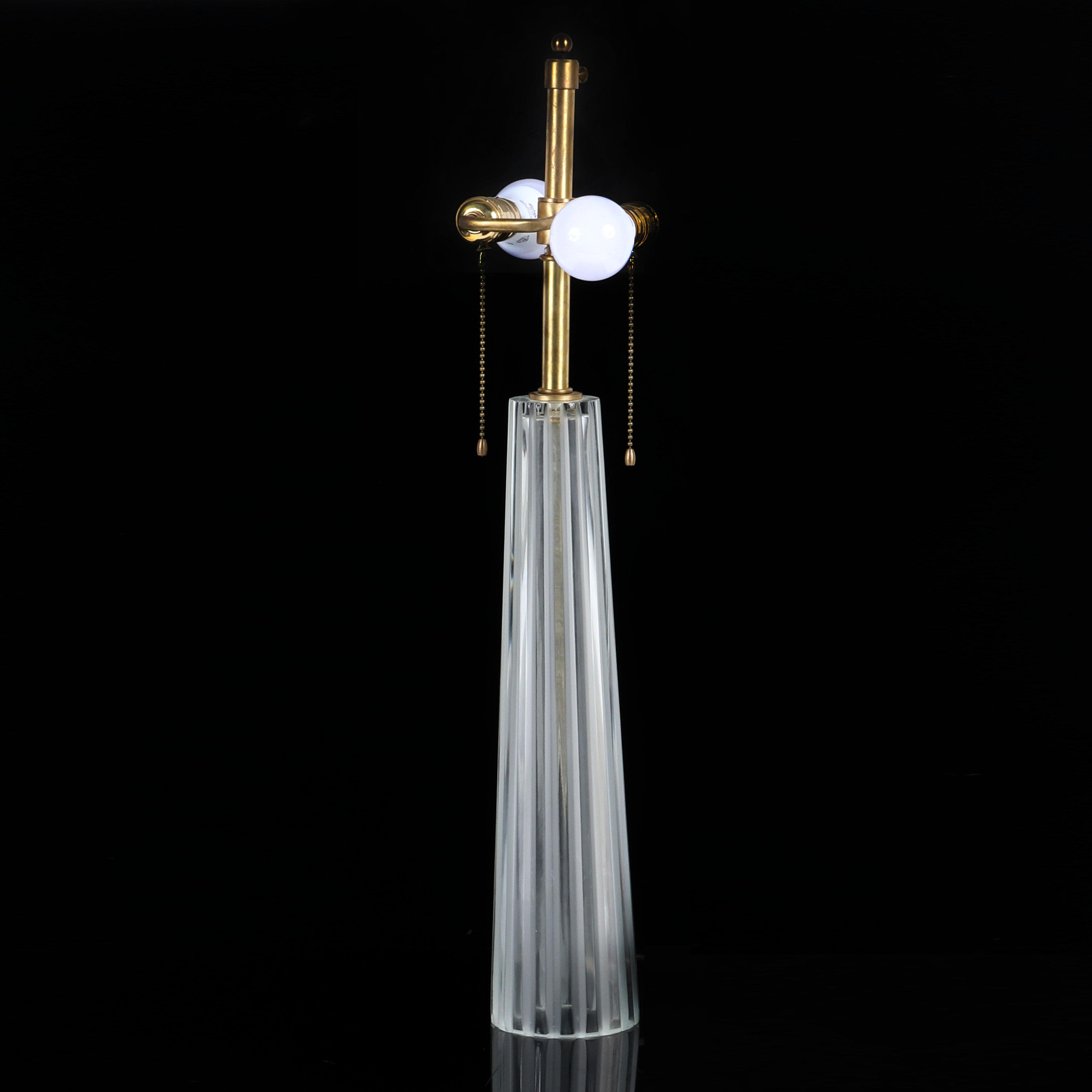 """Barbara Barry for Baker 'Cristallo' large pleated crystal table lamp. 28 1/2""""H."""
