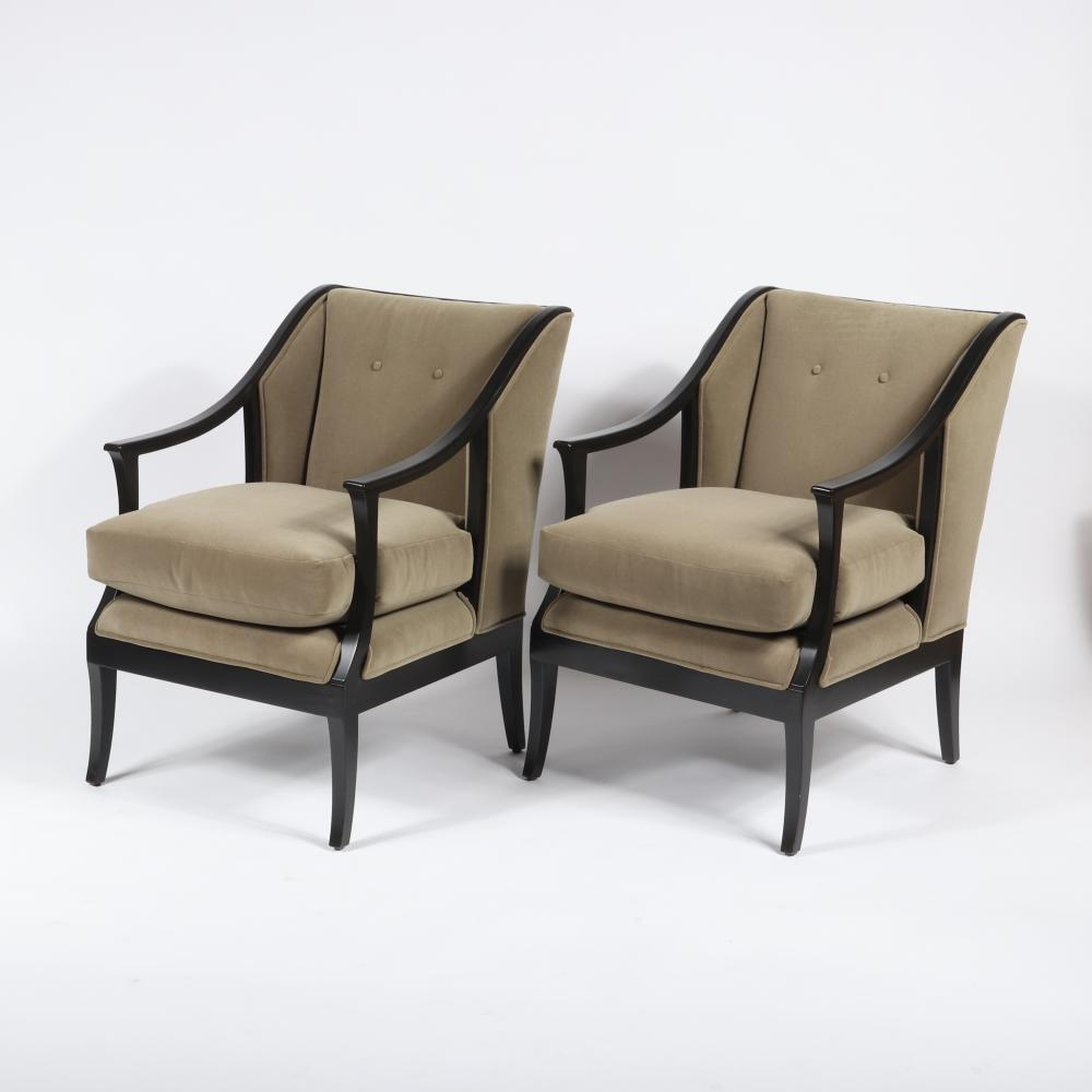 "Pair William Switzer hand crafted Swedish Biedermeier style upholstered occasional chairs with ebony finish. 25""W x 29""D x 34""H."