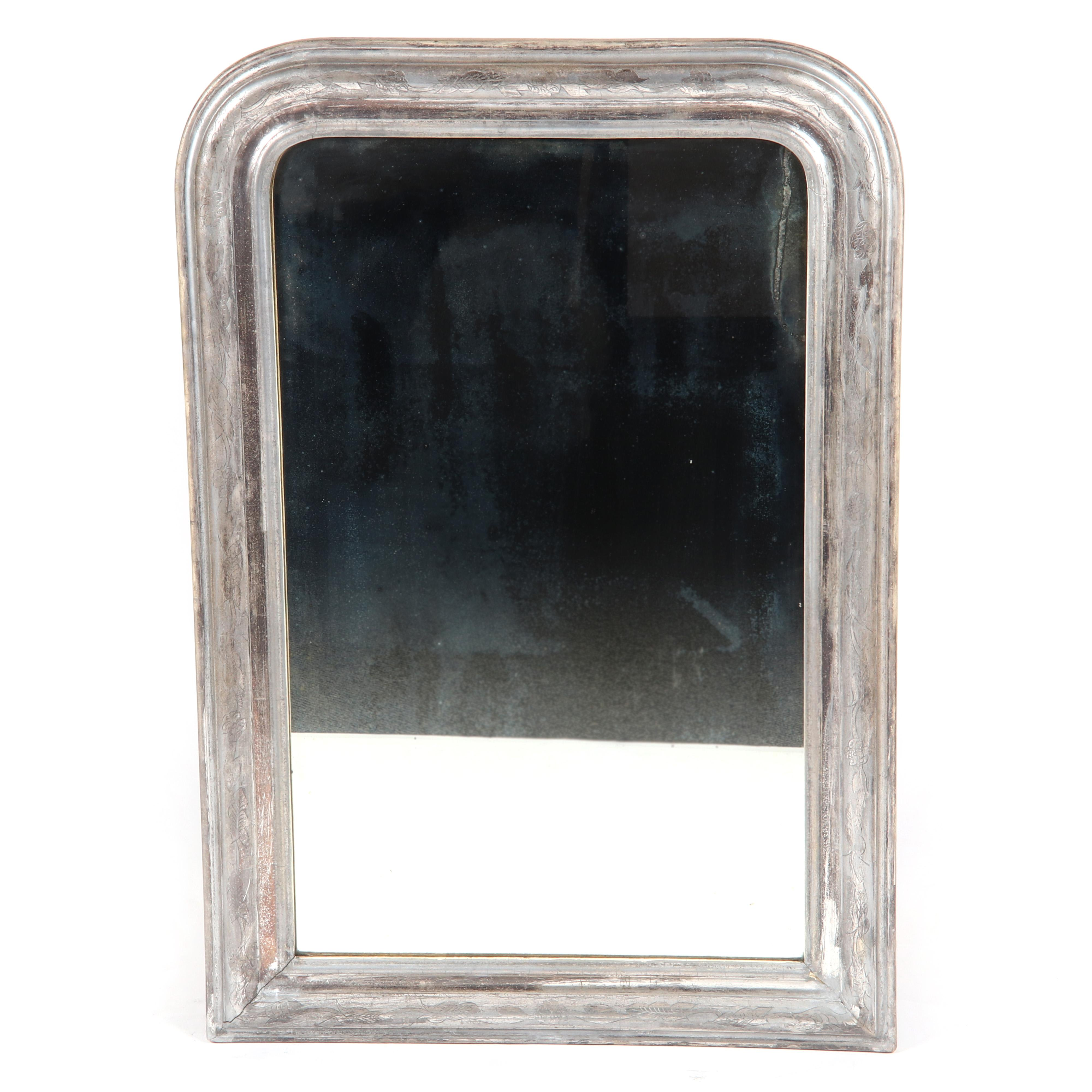 """French Empire Louis Philippe period wall mirror with silver gilt wood frame, c.1850. 43""""H x 29""""W."""