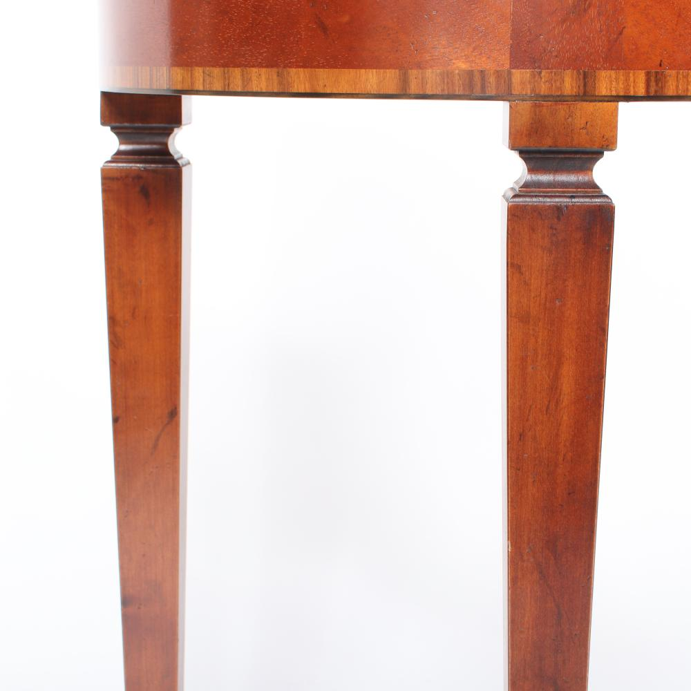 """Yorkshire House serpentine console entry table with mahogany veneers. 41 1/4""""H x 50""""W x """"14 1/2""""D."""