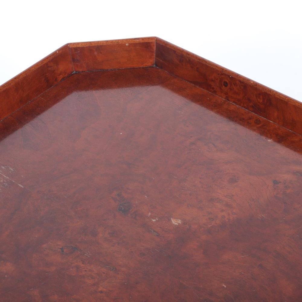 "Dessin Fournir 'Bergman' cocktail table with burl walnut veneer. 18 1/4""H x 38 1/2""W x 26 1/2""D."
