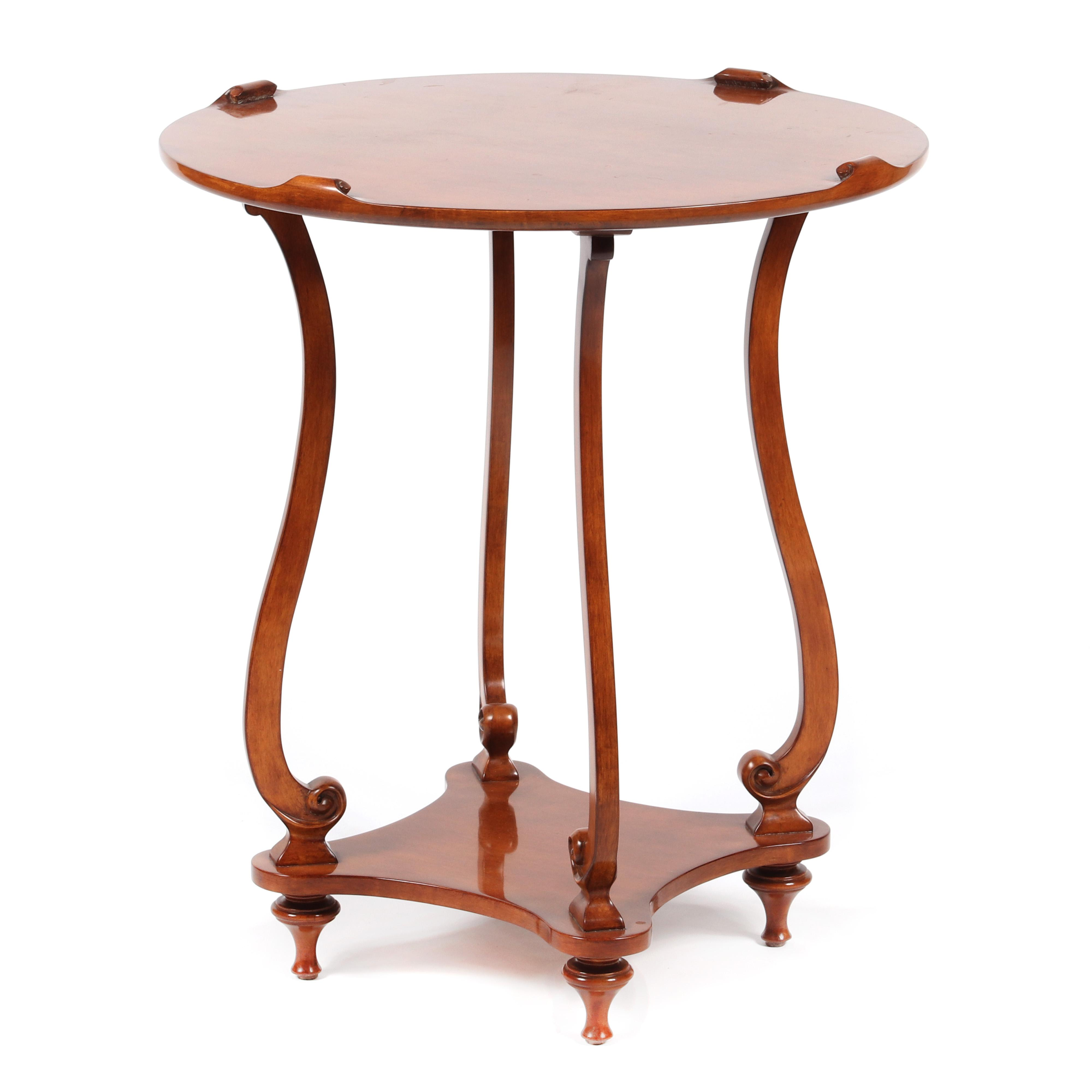 "Panache Designs 'Innsbruck Side Table'; birdseye maple with antique honey finish. 26""dia. x 29 1/2""H."
