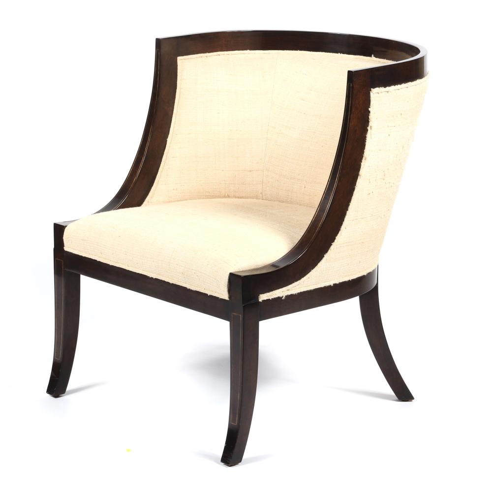 """Rose Tarlow - Melrose House Directoire barrel chair. 26 1/2""""W x 30""""D x 32""""H. Seat Height: 18 1/2""""."""