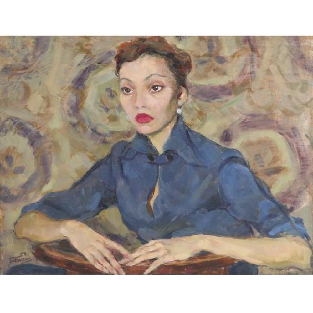 "D. S. Benina, (Russian, 20th Century)., Portrait of ballerina, Larissa Nadirashvili, oil on canvas, 25 1/2""H x 33 1/2""W."