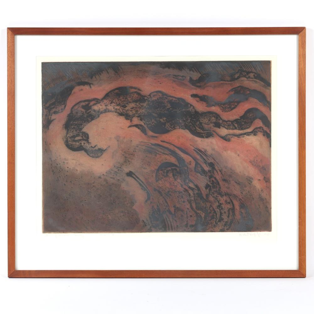 """Robert Wolfe Jr., (Canadian, 1935-2003), Storm Off Ocracoke - Monday, etching and aquatint, 19 1/4""""H x 25""""W (image), 26""""H x 31""""W (frame)."""
