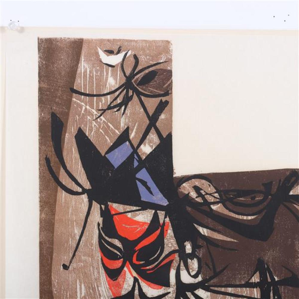 "Seong Moy, (Chinese, 1921-2013), Yen Shang, 1952, color woodcut, 20""H x 12 3/4""W (plate), 20 3/4""H x 14 3/4""W (paper)."
