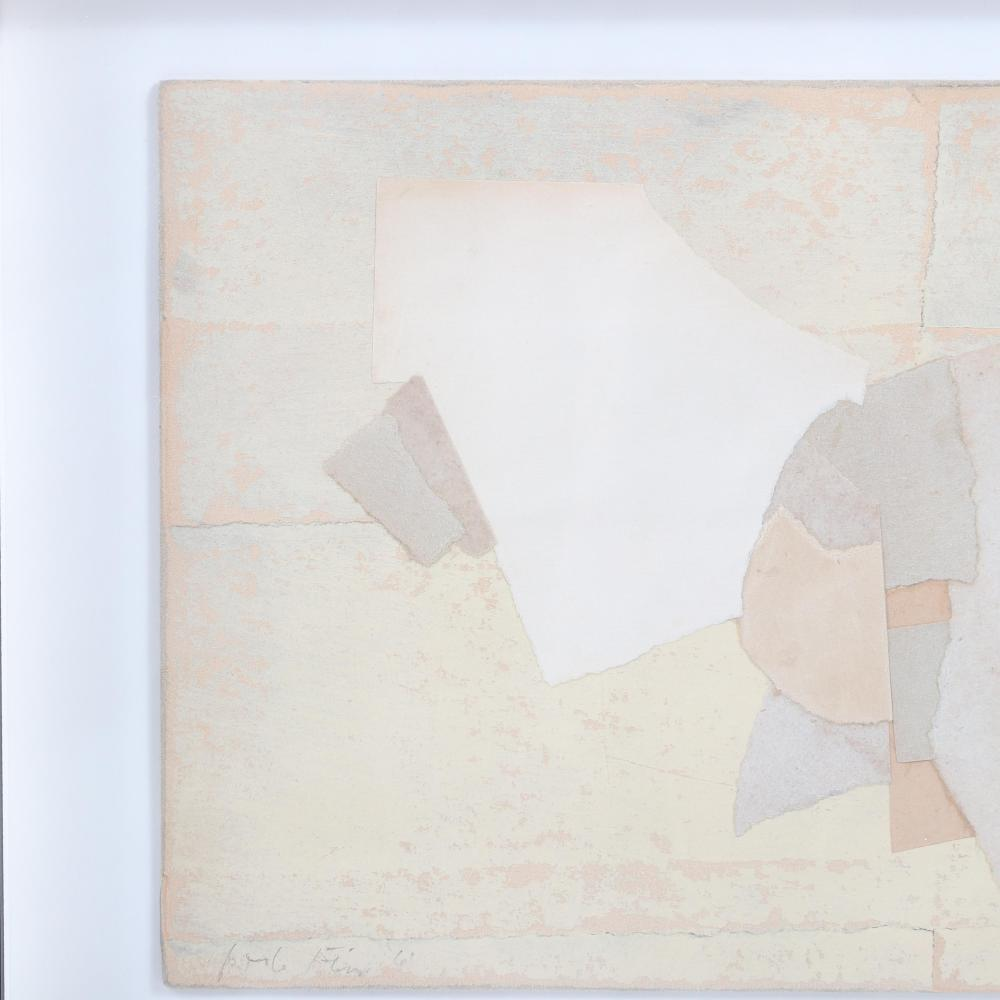 "Perle Fine, (American, 1905-1988), Untitled, 1961, oil and collage on board, 7 1/2""H x 10 3/4""W (image), 12""H x 15""W (frame)."