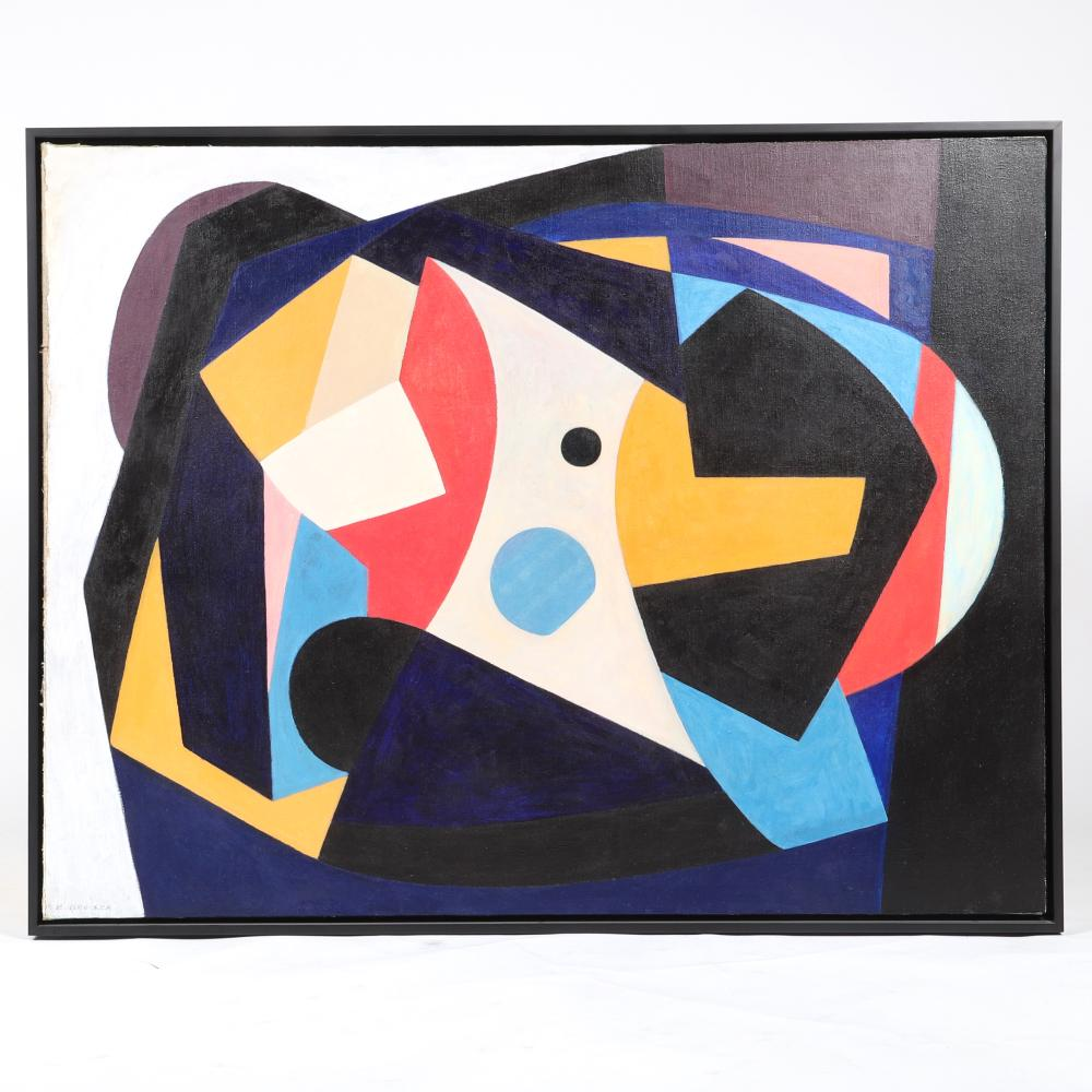"Edmund Brucker, (American, 1912-1999), Untitled abstract, ca.1940s, oil on canvas, 34""H x 44 1/2""W (image), 35 1/4""H x 45 1/4""W (frame)."