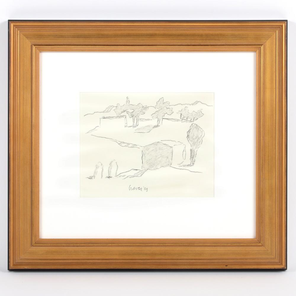 "Michael Graves, (American, 1934-2015), Italian Landscape, 2009, graphite on paper, 7""H x 9""W (image), 16 1/2""H x 18 1/2""W (frame)."