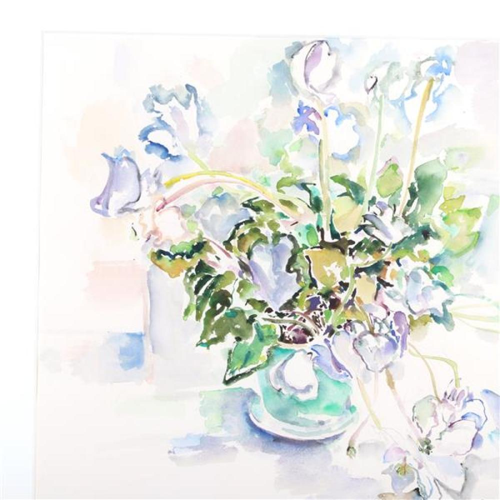 """Bernard Chaet, (Connecticut / Massachusetts, 1924-2012), Cyclamen, 1978, watercolor and graphite on paper, 21 1/2""""H x 29""""W (sight), 30""""H x 37 1/4""""W (frame)."""