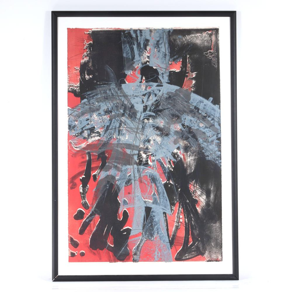 """Andersen, (20th Century), Whirling Dervish on the Street, 1995, color lithograph, 36""""H x 23 1/4""""W (image), 41 1/2""""H x 28 1/2""""W (frame)."""