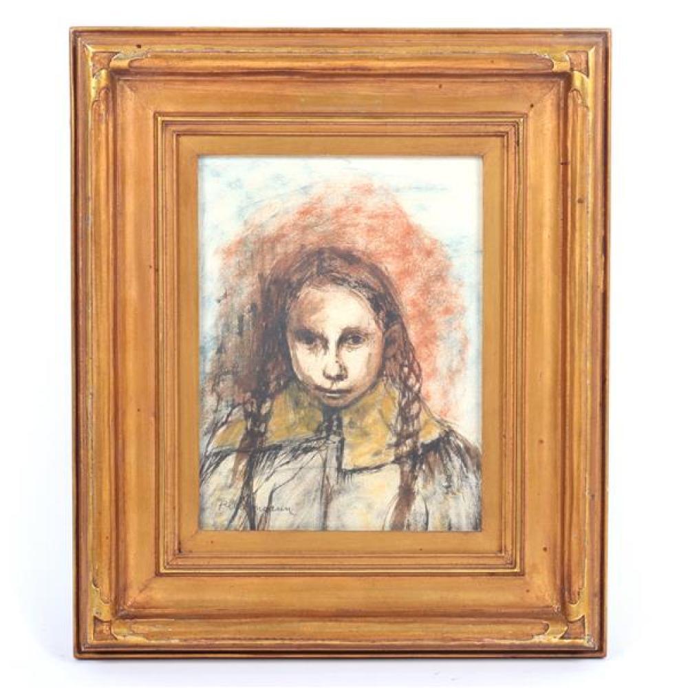 """Carolyn Plochmann, (Illinois / Ohio, b. 1926), portrait of a girl with braids, mixed media / oil on board, 8 3/4""""H x 6 1/2""""W (sight), 14 3/4""""H x 12 1/2"""" (frame)."""