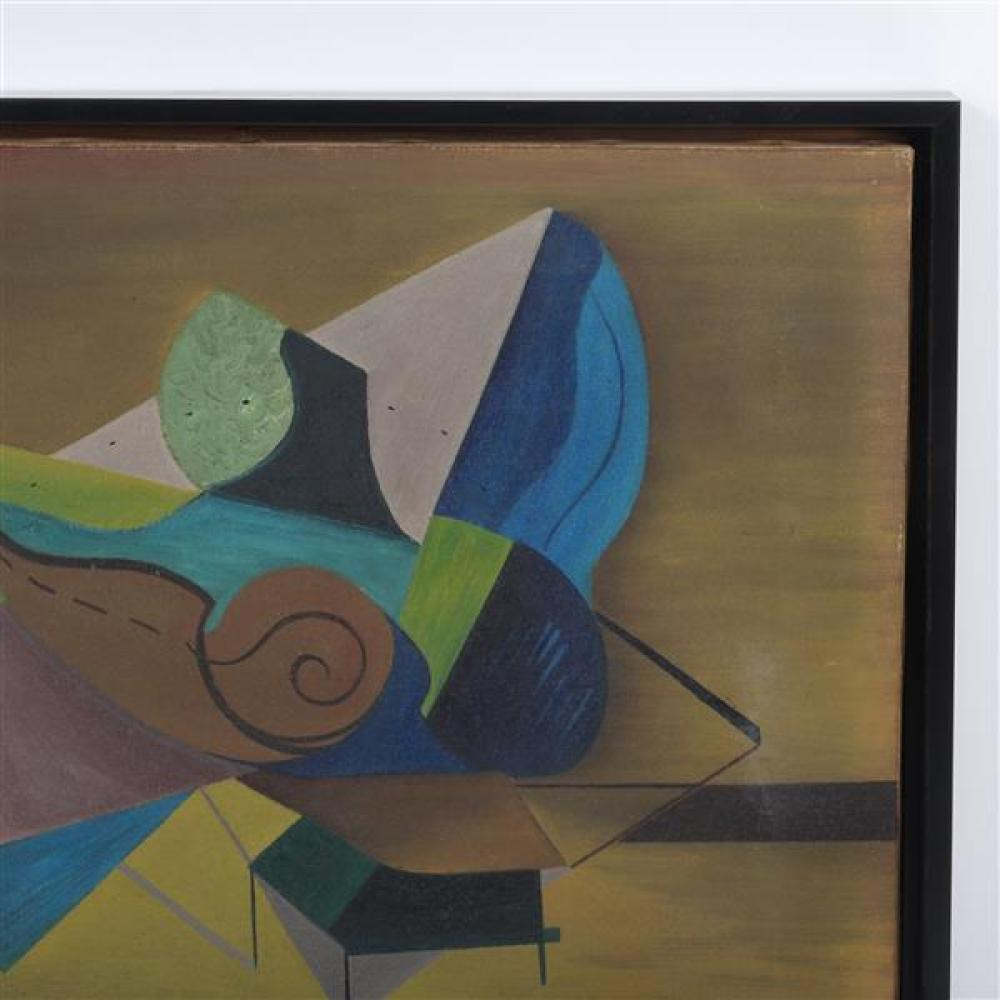 """Norman Vincent Ulery, (American, 1908-1976), Musicale in a Draught Area, 1944, oil on canvas, 14 3/4""""H x 18 3/4""""W (sight), 16 1/4""""H x 20 1/4""""W (frame)."""