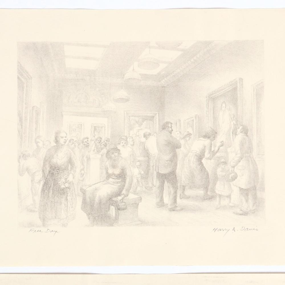 "Harry A. Davis, three artist studio / art gallery scenes, lithographs, 6 1/2""H x 8 1/4""W (image), 9""H x 11 1/4""W (sheet), Free Day."