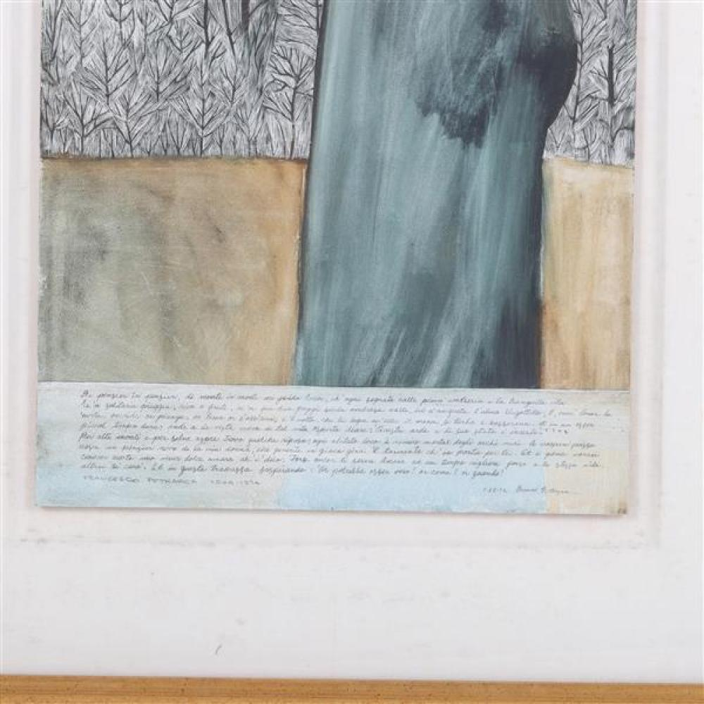 "Gerald G. Boyce, (Indiana / Illinois, 1925-1999), ""Distance and Solitude"", poem by Francesco Petrarch, 1590, watercolor / mixed media / collage on board, 19 3/4""H x 12""W (sight), 28 1/4""H x 20 1/4""W (frame)."