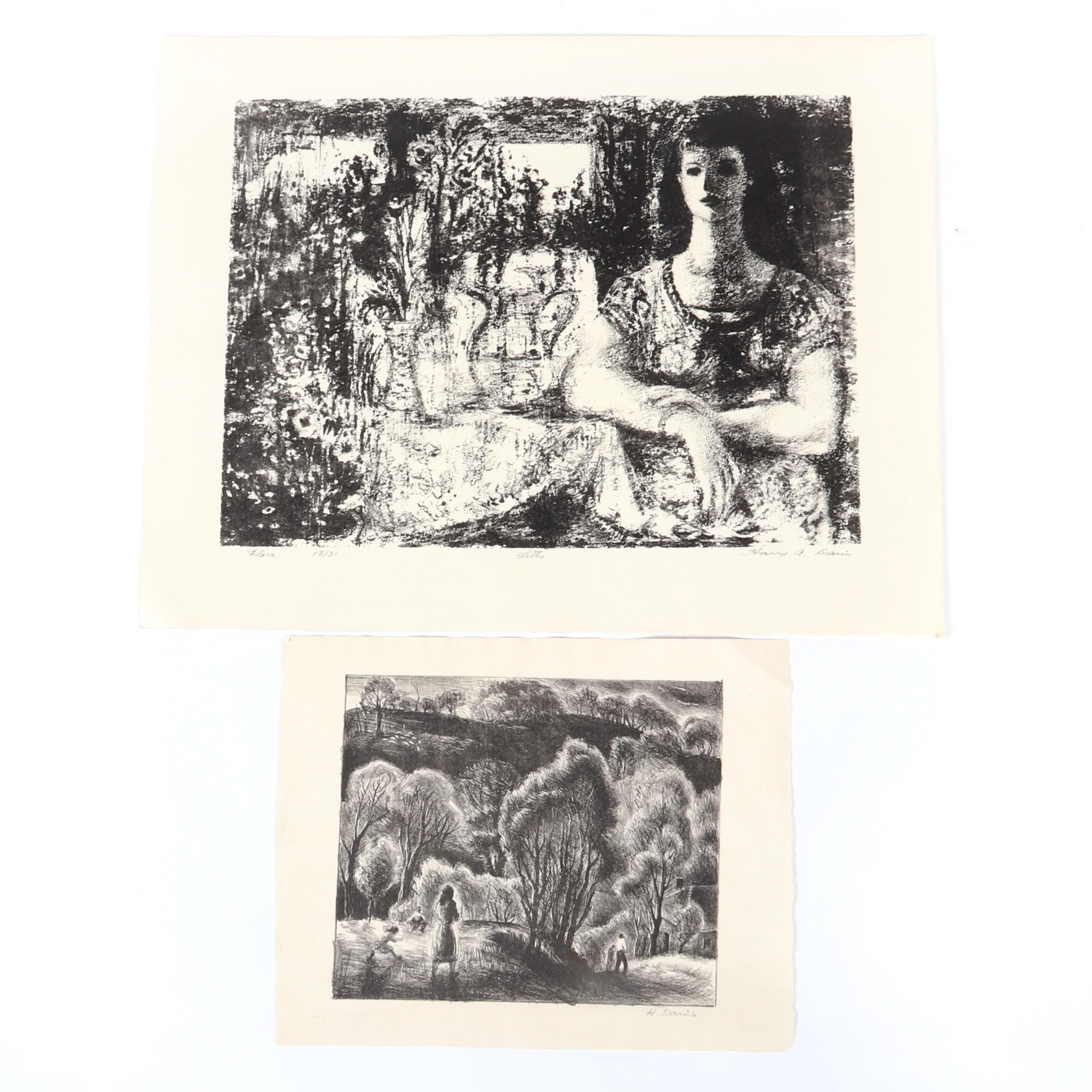 "Harry A. Davis, two, lithographs, 10 1/2""H x 14 1/2""W (image), 14""H x ""W (sheet), 18 largest."