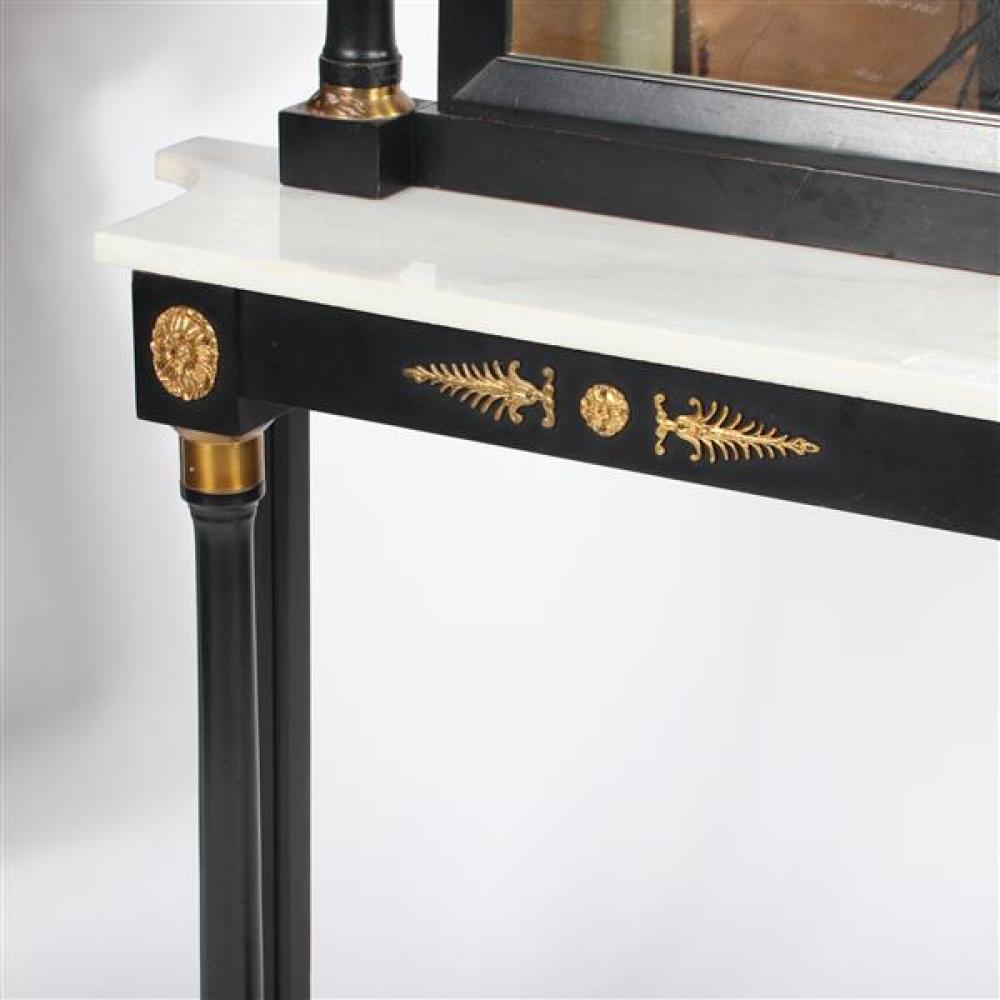 """French Empire style ebonized entry table pier mirror with marble top and ormolu gilt medallions. 36""""H, 34""""W, 9-34""""D table, 41""""H, 26-5/8""""W, 3-5/8"""" W mirror"""