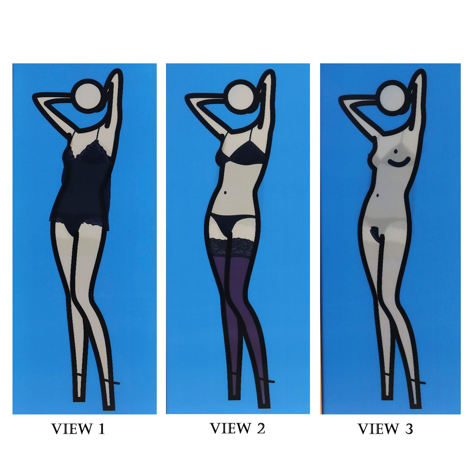 "Julian Opie, (British, b.1958), Sara Gets Undressed 2, 2004, lenticular acrylic panel comprised of inkjet prints, 76""H x 31 1/2""W (image), 78 1/2""H x 34""W (frame)."
