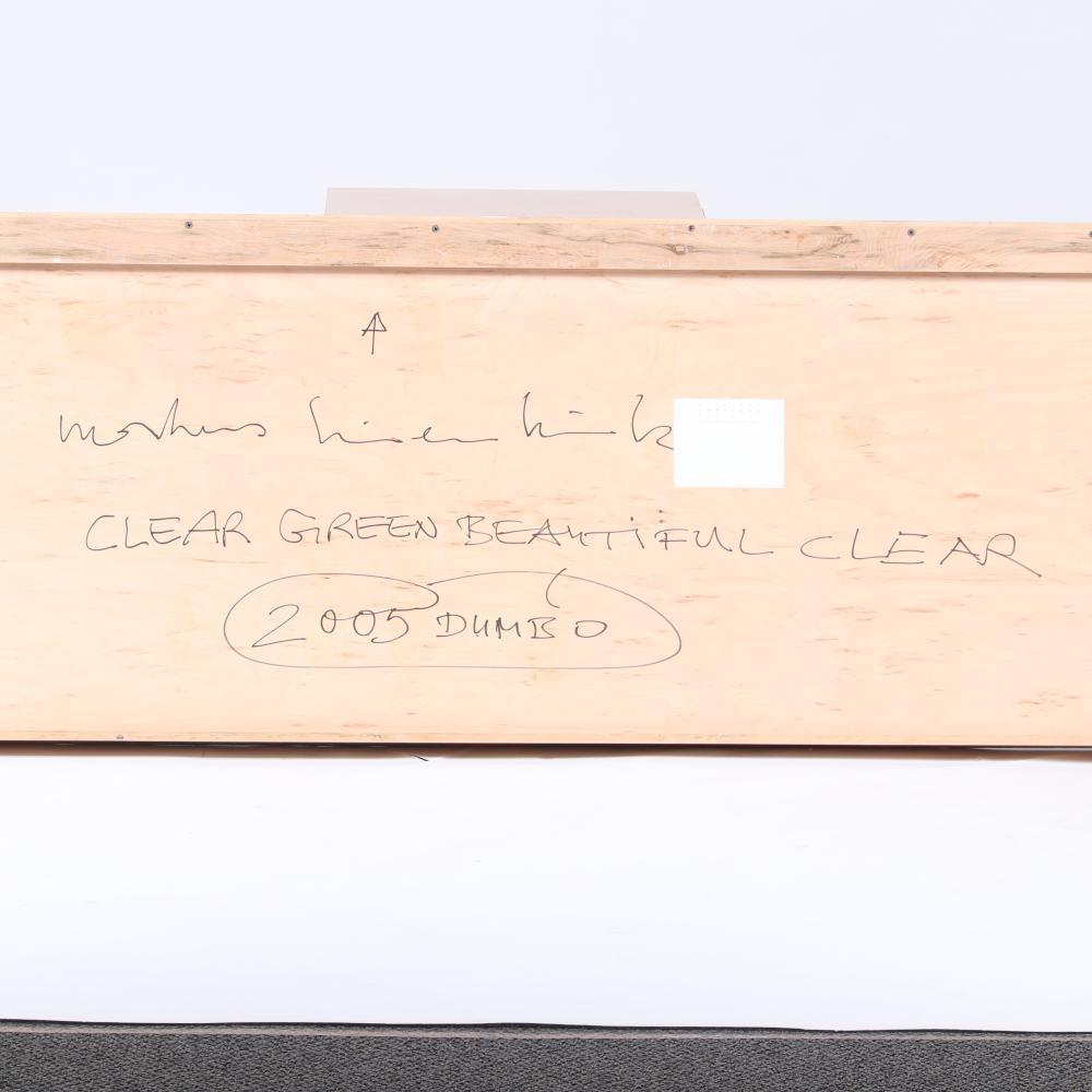 "Markus Linnenbrink, (German, b.1961), CLEARGREENBEAUTIFULCLEAR, 2005, epoxy resin and pigment drill on wood, 24""H x 96""W."