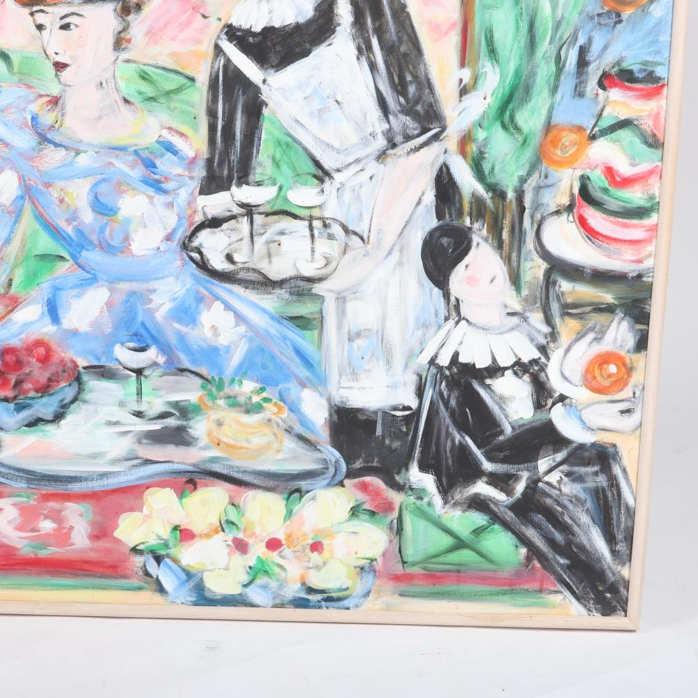 """Unknown, (20th Century), After Lunch, Post Impressionist Fauvist style figural scenic oil on canvas, 38 1/4""""H x 58 1/4""""W (image), 39 1/2""""H x 59 3/4""""W (frame)."""