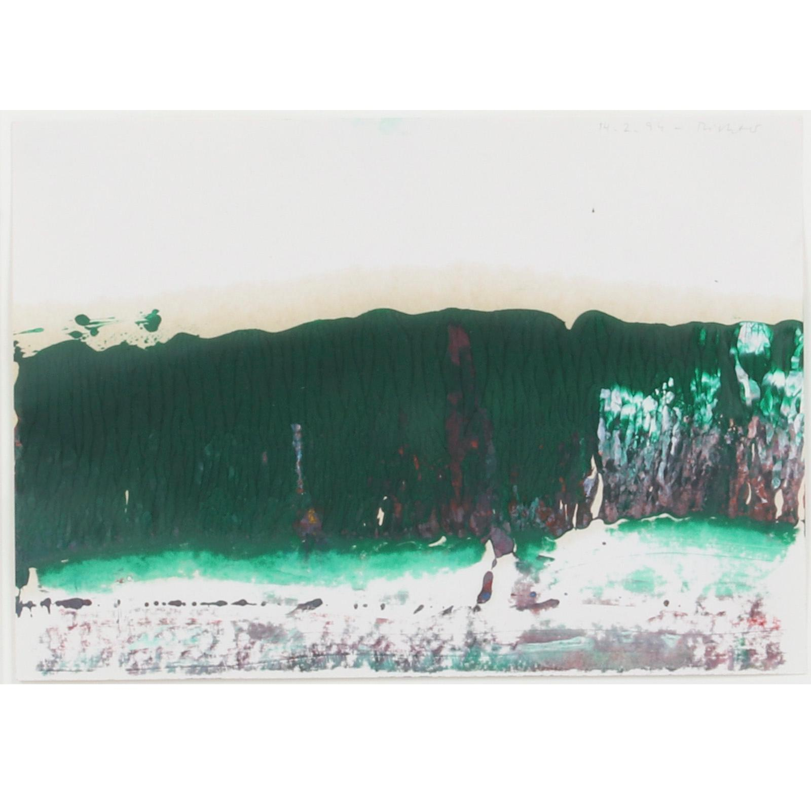 "Gerhard Richter, (German, b.1932), Untitled, 14.2.1994, oil on paper, 8 1/4""H x 11 1/2"" W (sheet), 16 1/4"" x 19 3/4"" (frame)."