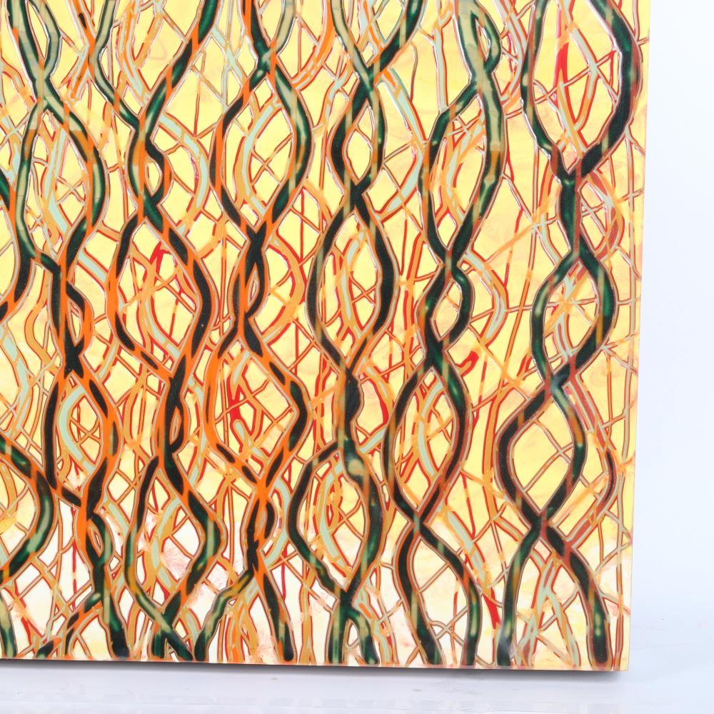 "Markus Linnenbrink, (German, b.1961), HELL, 2000-2002, epoxy resin cut on wood / aluminum, 37 1/2""H x 37 1/2""W."