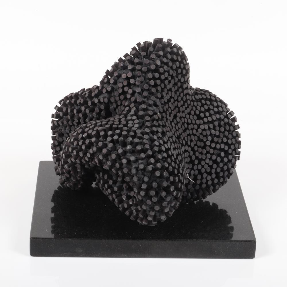 """Josh Garber, (Canadian, b.1963), Meet, 2005, aluminum bar, anodized on black granite plinth, 10""""H x 10""""W x 8""""D, all excluding the black granite plinth."""